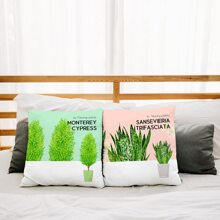 1pc Plants Print Cushion Cover Without Filler