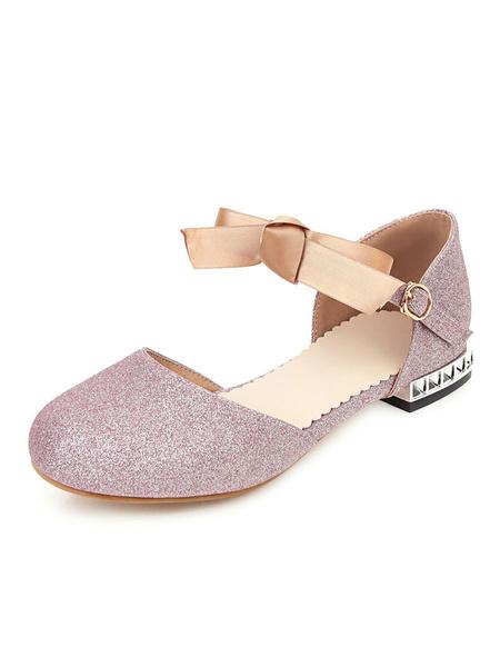 Milanoo Women\'s Sandals Puppy Heel Buckle Chic Slip-On Round Toe Plus Size Blond Sandals