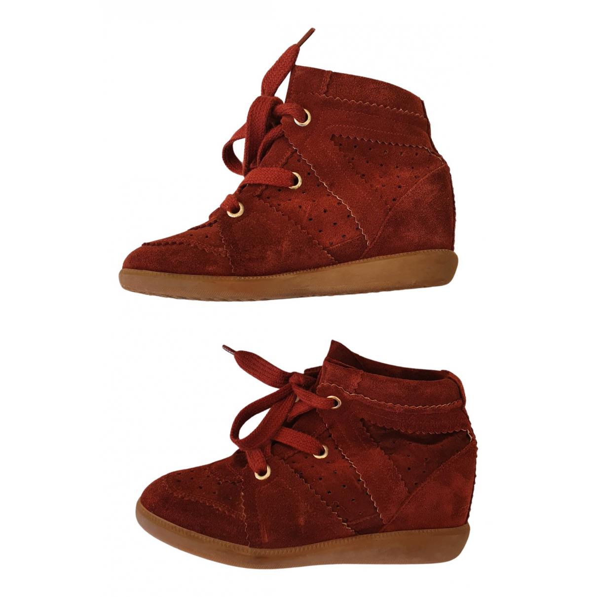 Isabel Marant Betty Burgundy Suede Trainers for Women 37 EU