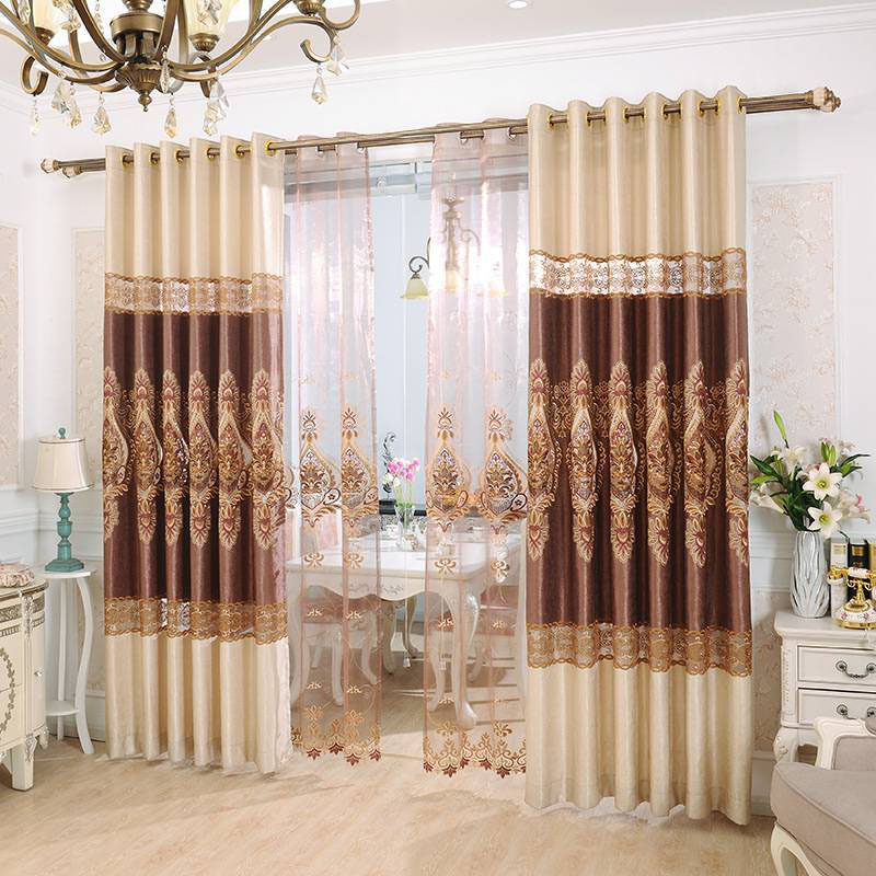 Elegant Embroidered Blackout Curtains for Living Room Custom 2 Panels Gold Drapes No Pilling No Fading No off-lining