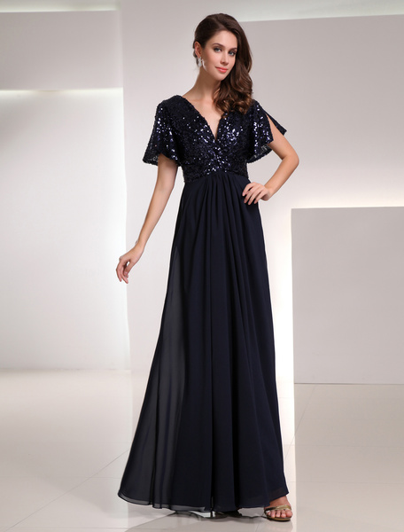 Milanoo Dark Navy Bridesmaid Dress Sequins Backless Chiffon Dress