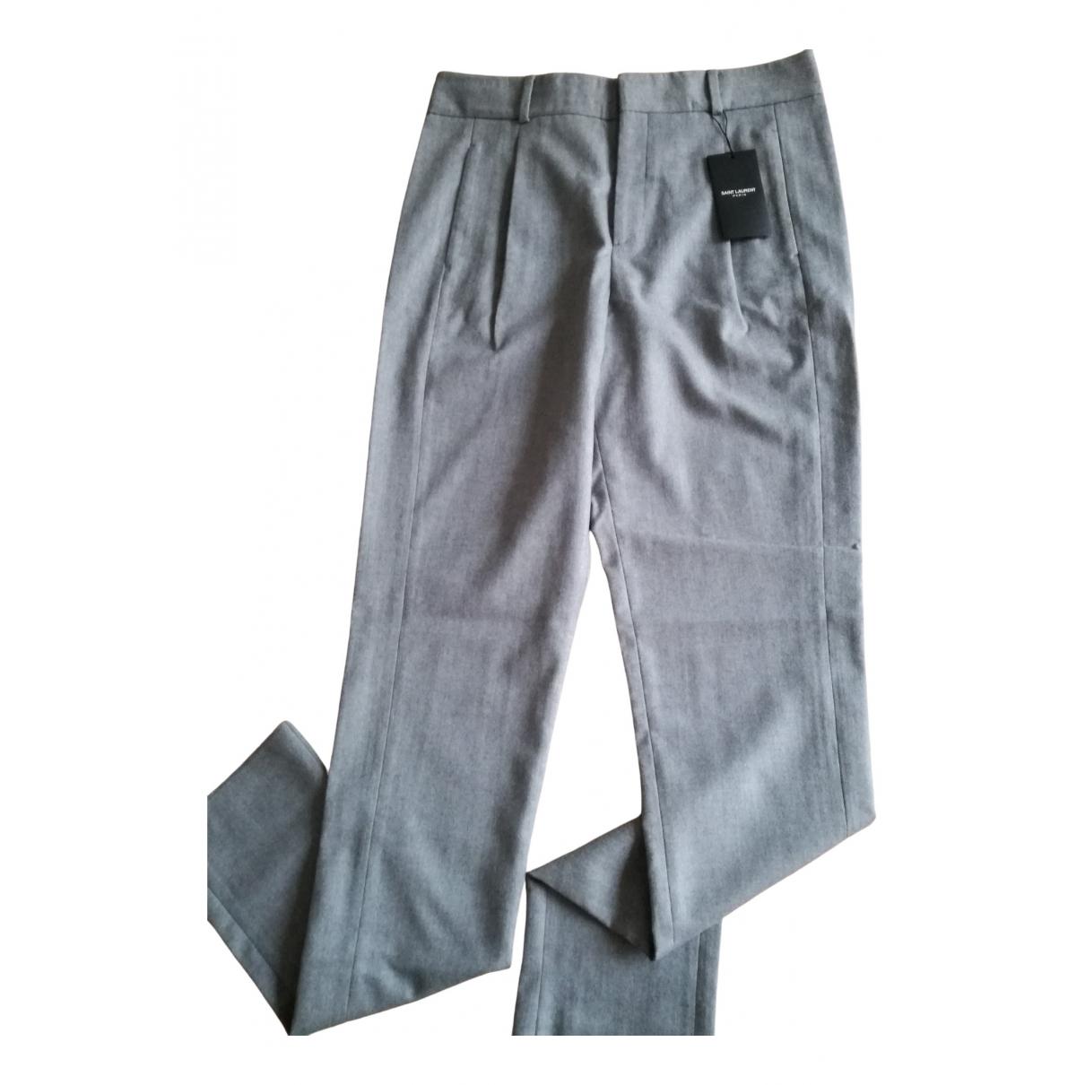 Saint Laurent \N Grey Wool Trousers for Women 40 FR