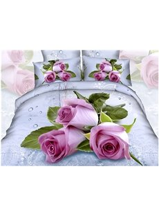 3D Pink Roses with Water-Drop Printed Cotton 4-Piece Bedding Sets