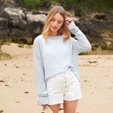 Solid Flounce Sleeve Sheer Sweater
