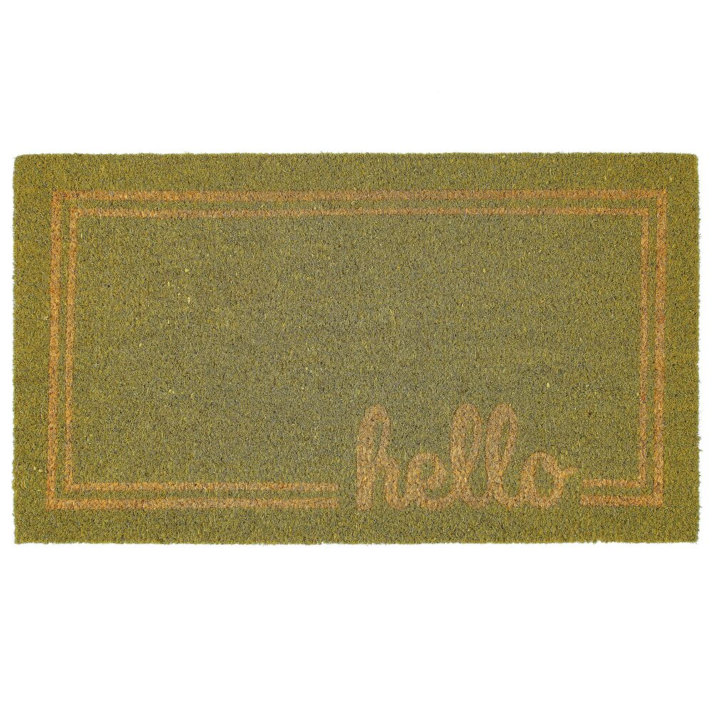 Hello Print Entryway Mat in Sage/Natural, 17
