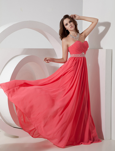 Milanoo Strapless Prom Dress Coral Sweetheart A Line Floor Length Rhinestone Sash Chiffon Party Dress
