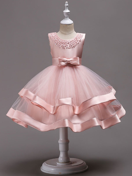 Milanoo Pink Flower Girl Dresses Pearls Beading Tulle Bows Kids Princess Social Party Dress