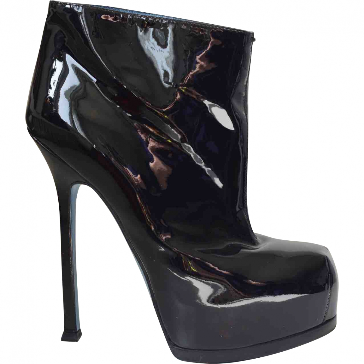 Yves Saint Laurent \N Black Patent leather Ankle boots for Women 37 EU