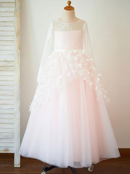 Milanoo Flower Girl Dresses Jewel Neck Tulle Long Sleeves Floor-Length Princess Silhouette Butterfly Kids Social Party Dresses