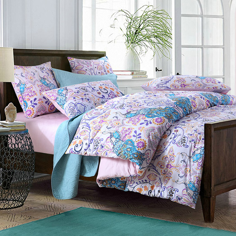Peacock Fitted Sheet Reactive Printing Duvet Cover Set Four-Piece Set Polyester Bedding Sets