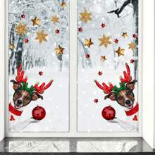 2sheets Christmas Dog Print Window Sticker