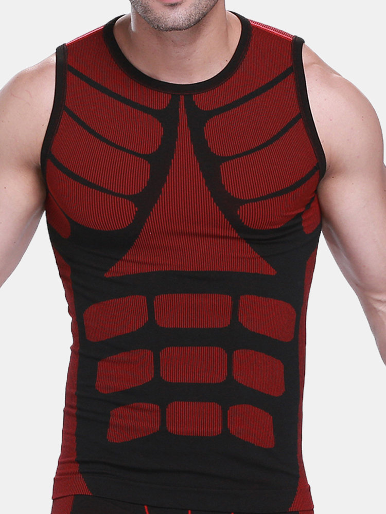 Men Quick Drying Colorful Sport Vest Compression Slim Underwear Body Shaper Reducers Men