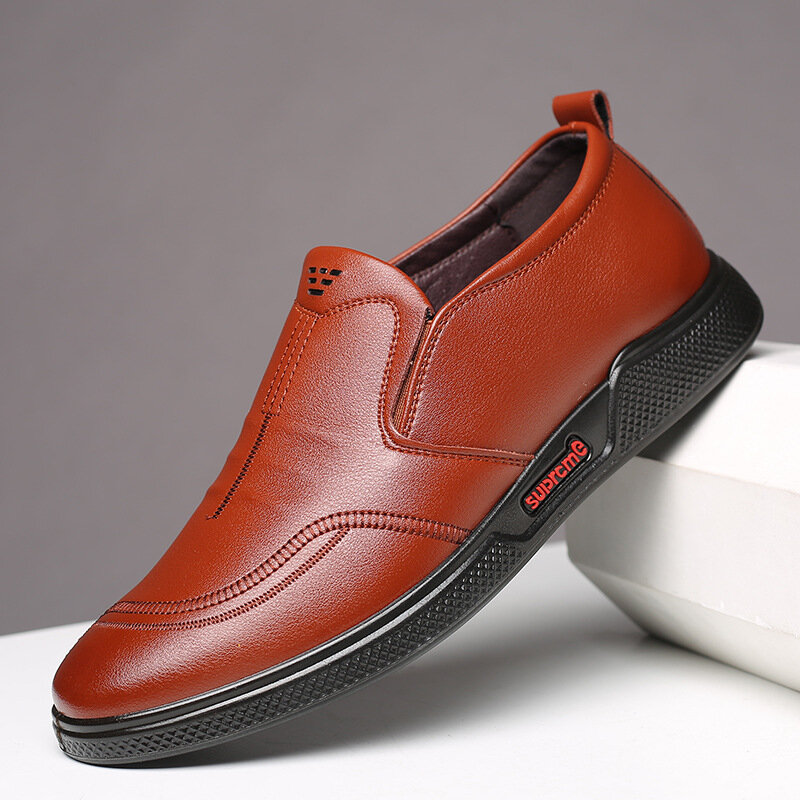 Men Pure Color Microfiber Leather Non Slip Slip On Comfy Shoes