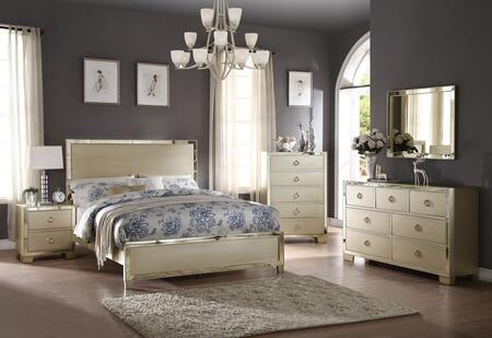 Voeville II Collection 27140QSET 5 PC Bedroom Set with Queen Size Bed  Dresser  Mirror  Chest and Nightstand in Champagne