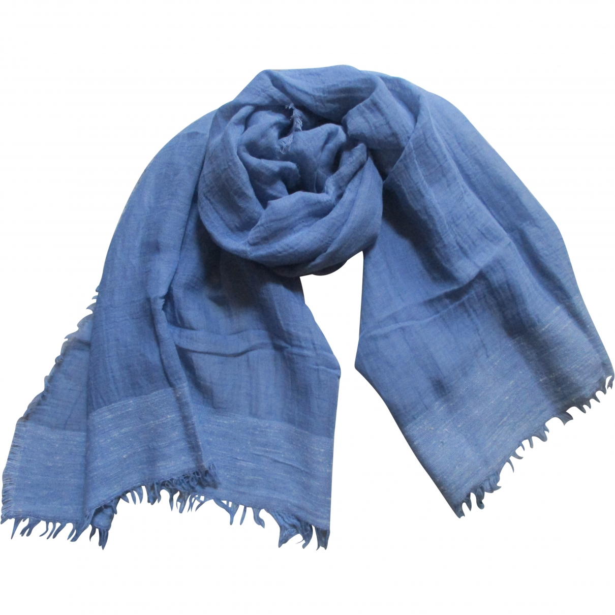 Non Signé / Unsigned \N Blue Linen scarf for Women \N