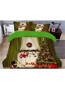 Green Christmas Duvet Cover Set 3D Christmas Tree 4-Piece Polyester Bedding Sets/Duvet Covers