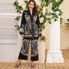 Open Front Split Sleeve Tribal Print Belted Kimono & Palazzo Pants Set