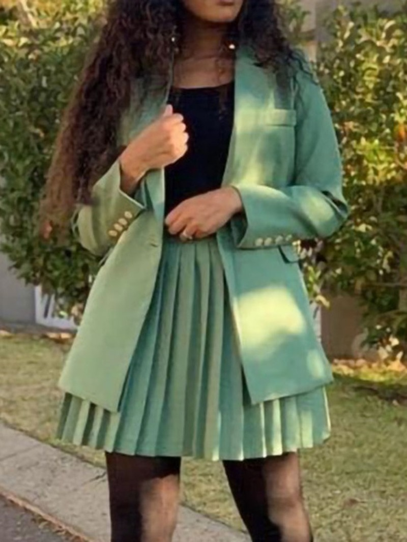 Ericdress Simple Plain Skirt Pleated Two Piece Sets