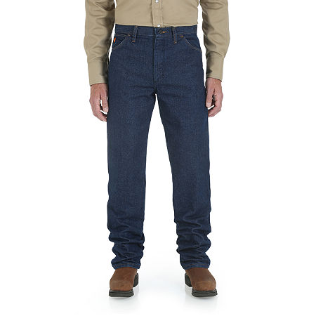 Wrangler Flame-Resistant Relaxed-Fit Work Jeans, 36 34, Blue