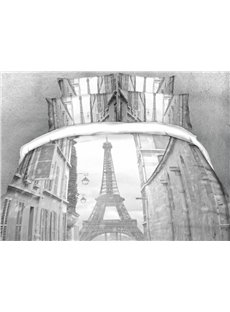 Eiffel Tower Street View Soft Warm Duvet Cover Set 4-Piece 3D Scenery Bedding Set