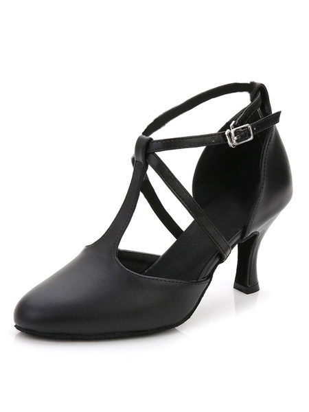 Milanoo Latin Dance Shoes Black Ballroom Shoes Pointed Toe T Type 1920s Vintage Flapper Shoes