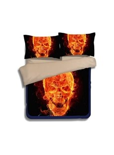 3D Fiery Flaming Skull Printed Polyester 4-Piece Halloween Bedding Sets/Duvet Covers