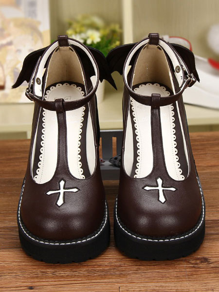 Milanoo Gothic Lolita Shoes Cross Platform Wedge T-strap Lolita Shoes With Evil Wing
