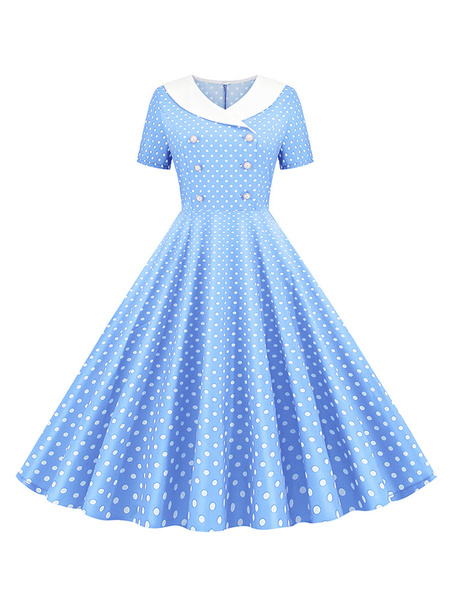 Milanoo Vintage Dress 1950s V-Neck Pleated Layered Short Sleeves Woman\'s Knee Length Polka Dot Swing Dress