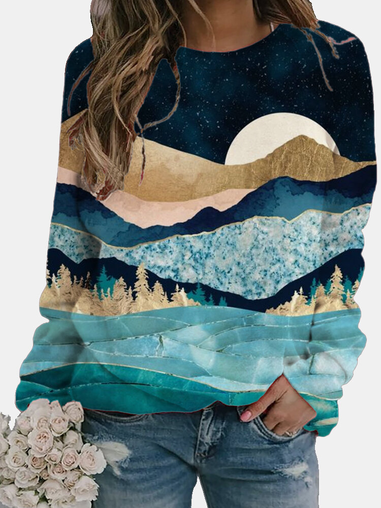 Casual Landscape Printed Long Sleeve O-neck Blouse For Women