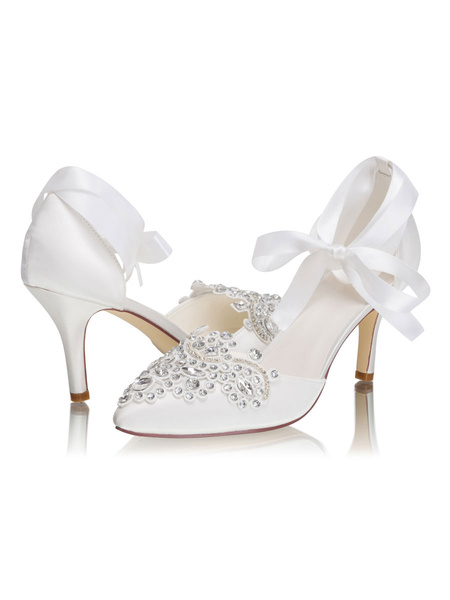Milanoo Wedding Shoes D'orsay Pointed Toe Ankle Strap Stiletto Heel 3.1 Bridal Shoes