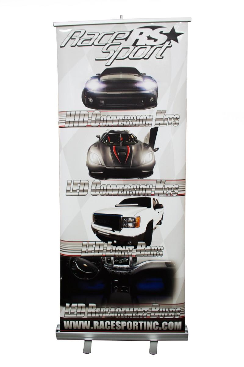 Race Sport Lighting RSVBANNER 33x80 Inch Vertical Floor Stand Retractable Race Sport Lighting RSVBANNER Banner
