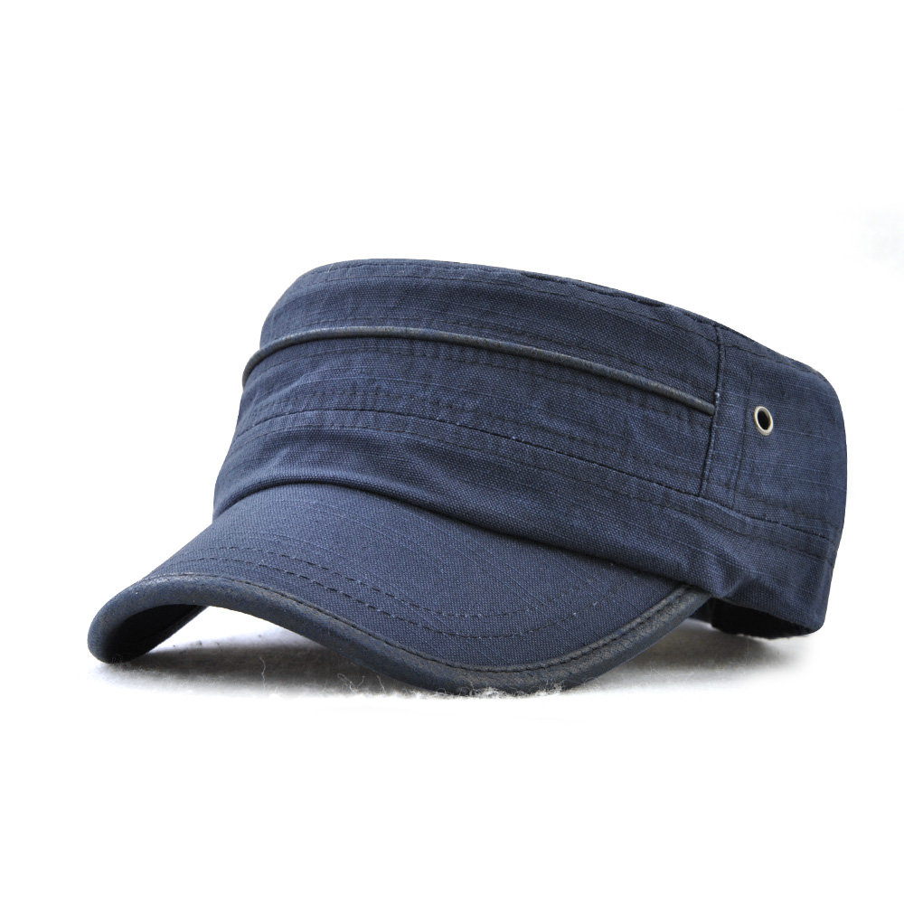 Mens Vintage Summer Sunshade Brim Flat Cap Breathable Washed Cotton Sun Hat Outdoor Sports Cap
