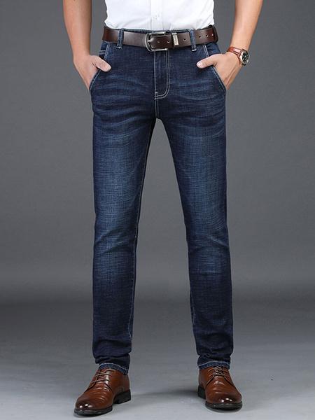 Milanoo Straight Leg Jeans Distressed Washed Deep Blue Denim Jean For Men