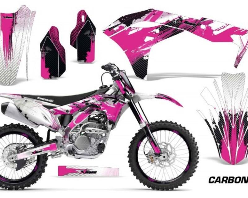 AMR Racing Graphics MX-NP-KAW-KX250F-17-18-CX P Kit Decal Sticker Wrap + # Plates For Kawasaki KXF250 2017-2018áCARBONX PINK