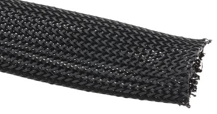 HellermannTyton Expandable Braided PET Black Cable Sleeve, 25mm Diameter, 5m Length, Helagaine HEGP06 Series