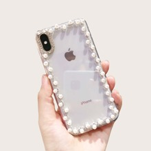 1pc Faux Pearl Decor Clear iPhone Case