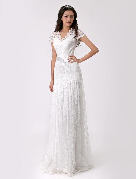 Milanoo Two Piece Chiffon Bridal Gown with Lace Overlay