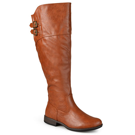 Journee Collection Womens Tori Extra Wide Calf Riding Boots, 8 Medium, Brown