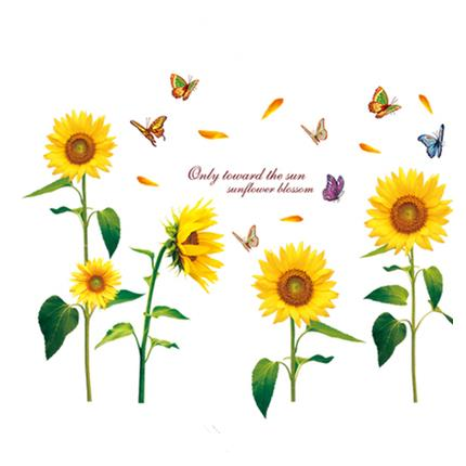 Sunflowers and Butterflies Sofa/TV Background Waterproof Wall Stickers 23.4*35in