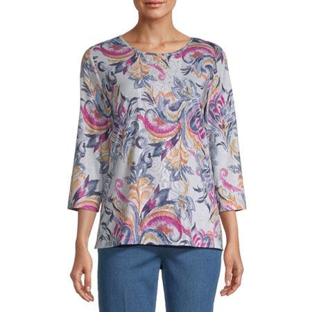 Alfred Dunner Panama City-Womens Round Neck 3/4 Sleeve T-Shirt, Medium , Pink