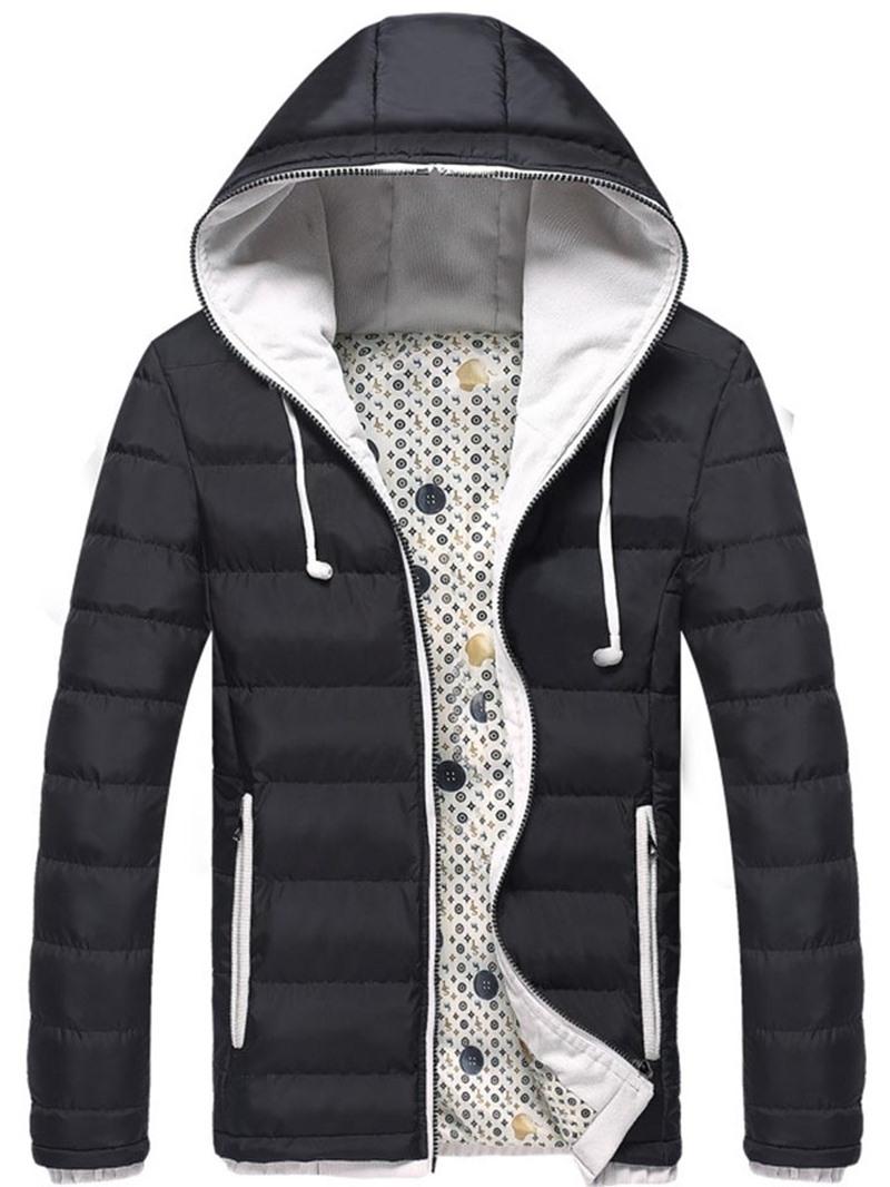 Ericdress Hooded Color Block Men's Down Jacket