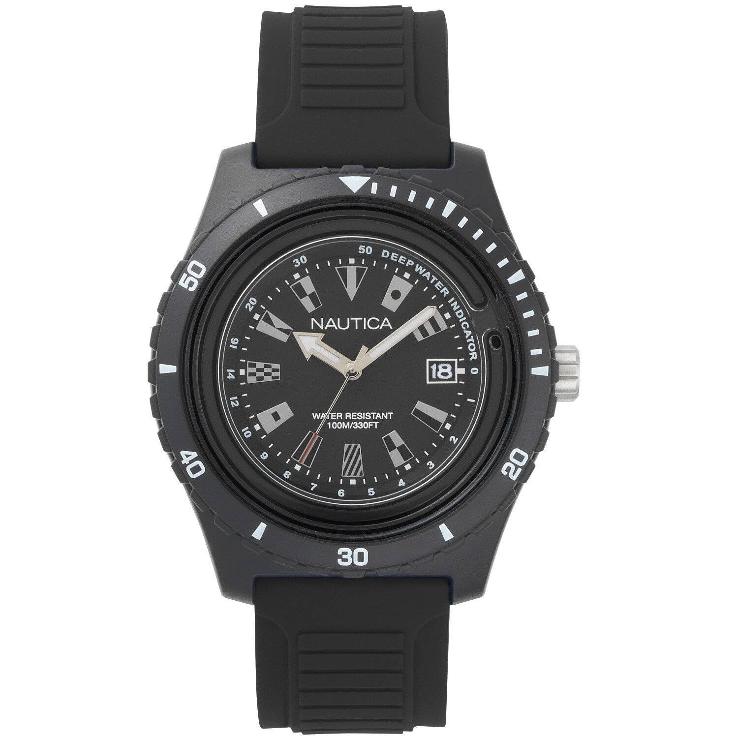 Nautica Watch NAPIBZ007 Ibiza, Analog, Water Resistant, Silicone Band, Adjustable Buckle, Deep Water Indicator, Black
