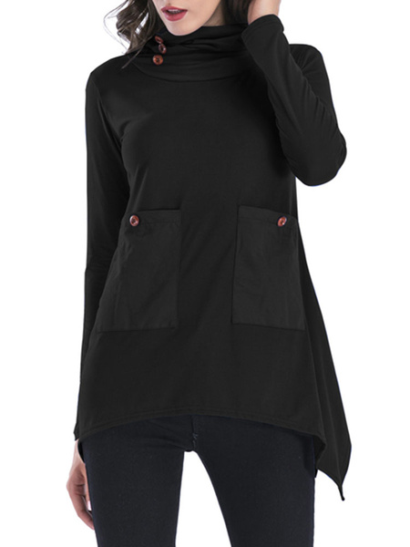 Milanoo Women Pullover Sweatshirt Blue Jewel Neck Long Sleeve Cotton Top With Pockets