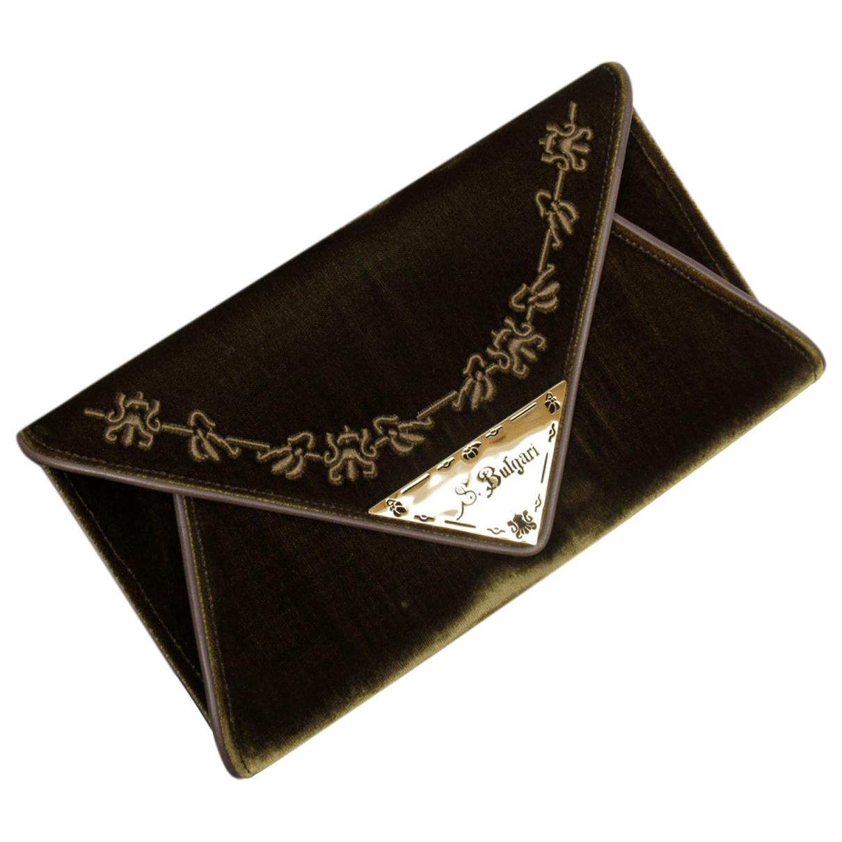 Bvlgari N Brown Velvet Clutch bag for Women N