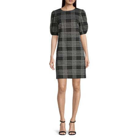 London Style Short Sleeve Plaid Shift Dress, 18 , Black