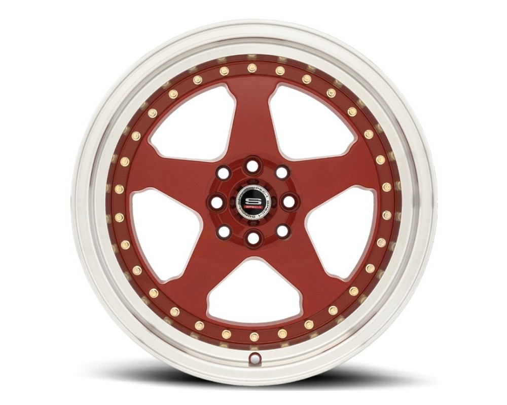 Spec-1 SPT-21 Wheel Trak Series 17x9 4x100|4x114.3 25mm Red w/ Machined Lip & Gold Rivets