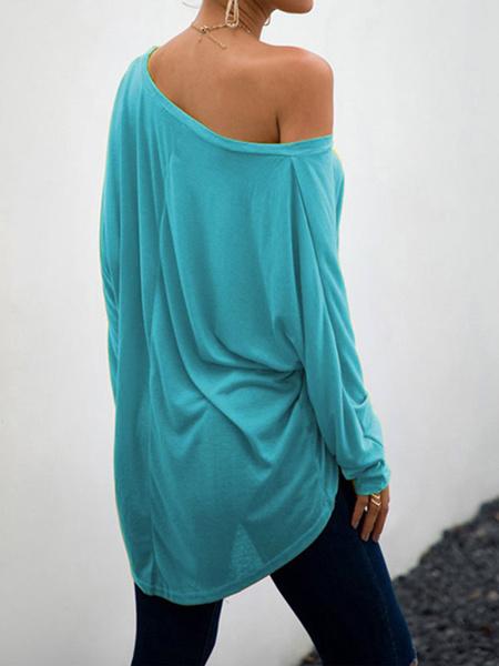 Milanoo Long Sleeves Tees Women High Low Design Jewel Neck T Shirt
