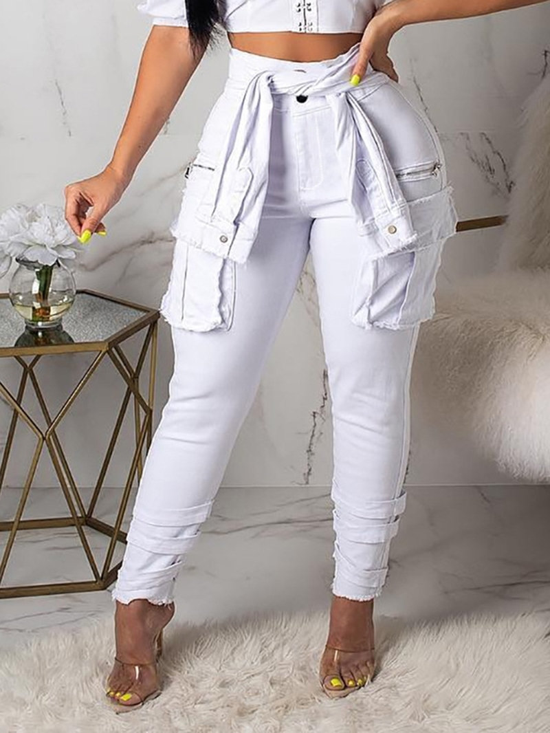 Ericdress Pocket Slim Mid Waist Casual Pants