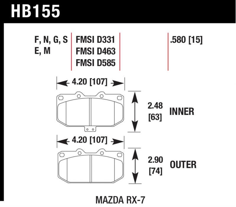 Hawk Performance HB155F.580 Disc Brake Pad Mazda RX-7 Front 1.3L 2-Cyl