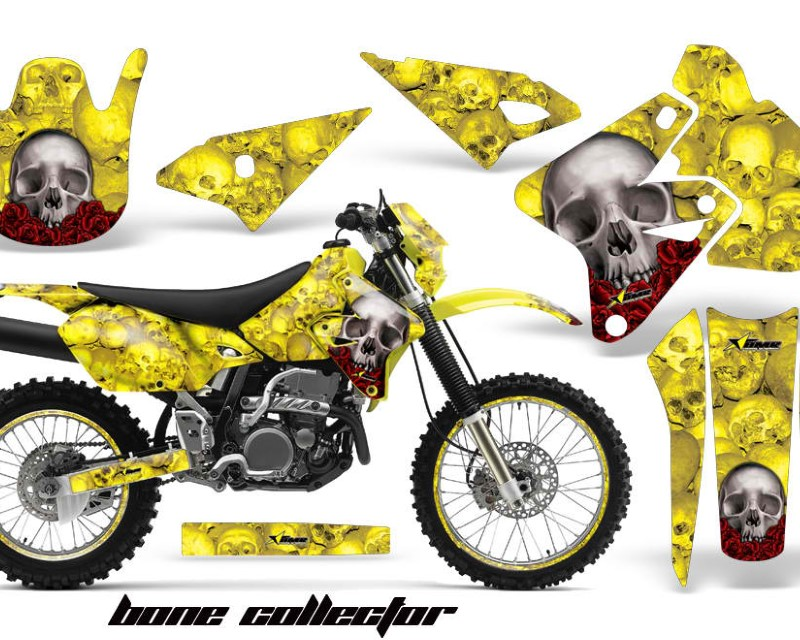 AMR Racing Graphics MX-NP-SUZ-DRZ400S-00-18-BC Y Kit Decal Sticker Wrap + # Plates For Suzuki DRZ400S 2000-2018 BONES YELLOW